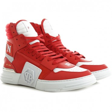 Philipp Plein Men Sneakers Hi Top Round toe Lace up Logo on Back Rubber sole Logo on tongue Comes with a dust bag Discount QTEW448
