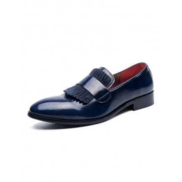 Mens Loafer Shoes Blue Slip-On Round Toe Dress Shoes shopping #24640916612